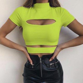 【大特価】2色展開 ネオングリーン ブラック モックネック 半袖 カットアウト Tシャツ 半袖 クロップドトップス カットソー  通販
