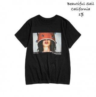 【大特価】ブラック フォトプリント フロントプリント オーバーサイズ Tシャツ 半袖 トップス カットソー