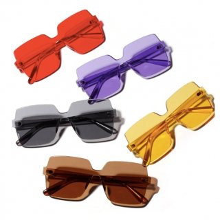 【大特価】5色展開 カラーサングラス スクエアサングラス フレームレスサングラス ゴーグルサングラス 通販