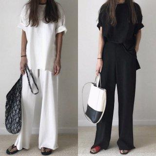 【大特価】2色展開 ブラック ホワイト 無地 シンプル ロールアップスリーブ 半袖 Tシャツ 半袖 ワイドパンツ ガウチョパンツ フレアパンツ セットアップ 通販