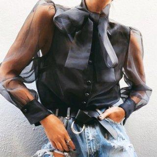 【大特価】ブラック シースルー メッシュ ボウタイリボン ブラウス シャツ 長袖 トップス カットソー 通販