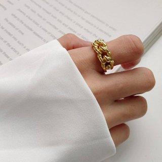 【大特価】ゴールド 調整可能 フリーサイズ チェーンデザイン チェーンリング 指輪 インポート 通販