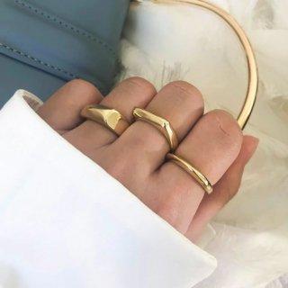 【大特価】3デザイン ゴールド メタルリング シンプル ステートメントアクセサリー 指輪 リング インポートアクセサリー 通販