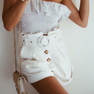 【大特価】ホワイト フロントボタン サークルリングベルト ハイウエストショートパンツ 裾ロールアップ ボトム 通販