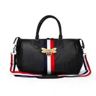 【大特価】2サイズ ストライプラインデザイン BEE ミツバチ ボストンバッグ ダッフルバッグ ショルダーバッグ