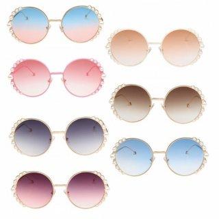 【大特価】7色展開 フェイクパールビーズ グラデーションレンズ ラウンドサングラス でかサングラス ビッグサングラス 通販