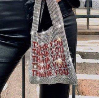 【大特価】シルバー ラインストーン ビジュー THANK YOU ロゴデザイン エコバッグ ハンドバッグ トートバッグ インポート 通販