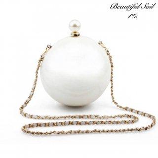【大特価】ホワイトxゴールド フェイクパールビーズ パールデザイン チェーンショルダーバッグ ボールデザイン パーティーバッグ