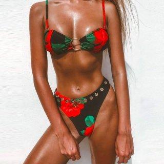 【大特価】ブラックxレッド 花柄 フラワー サークルリングフロント ハトメスタッズ キャミソールビキニ バンドゥビキニ ハーフブラジリアンビキニ
