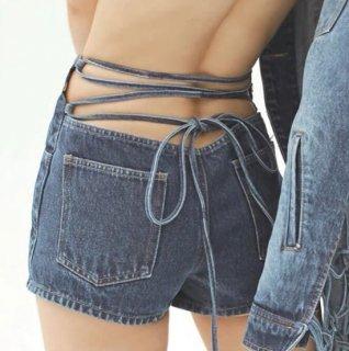 【大特価】インディゴブルー バックレースアップ 編み上げ ロングストラップ デニムショートパンツ ボトム 通販
