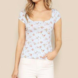 【大特価】ライトブルー 小花柄 フラワー ローズ 薔薇 スクープネック Tシャツ 半袖 トップス カットソー 通販