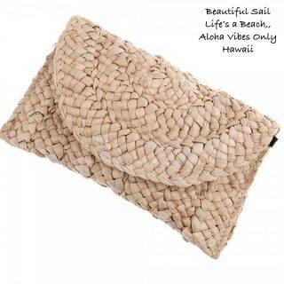 【大特価】アイボリーベージュ ストロー素材 ラフィア素材 クラッチバッグ ハンドバッグ 通販