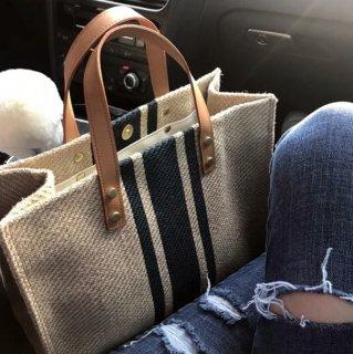 【大特価】2色展開 ストライプデザイン キャンバス素材 トートバッグ ハンドバッグ スクエアバッグ 通販
