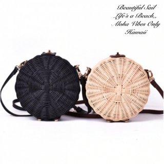 【大特価】2色展開 ライトベージュ ブラック ラウンドストローバッグ ショルダーバッグ かごバッグ サークル