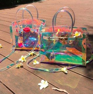 【大特価】2色展開 ネオンピンク ゴールド クリア PVC クリアバッグ メタルロック ハンドバッグ インポート 通販