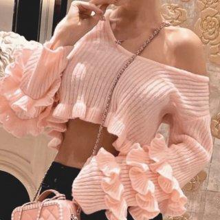 【大特価】ピンク リブデザイン Vネック ラッフルフリルスリーブ 長袖 クロップドトップス カットソー ニット セーター 通販