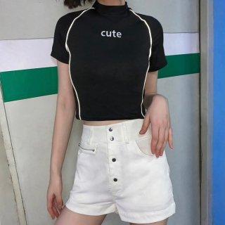 【大特価】ブラック フロントロゴ パイピングトリム cute モックネック ハイネック Tシャツ 半袖 トップス カットソー 通販