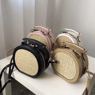 【大特価】4色展開 ブラック ベージュ ピンク ホワイト フェイクレザー 合皮 ストローバッグ ラウンドバッグ ショルダーバッグ 2way ハンドバッグ  通販