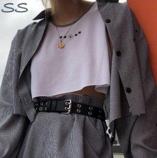 【大特価】グレーブラック グリッドチェック柄 フロントボタン 長袖 クロップドジャケット シャツジャケット アウター 通販