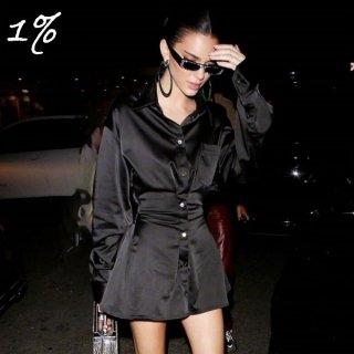 【大特価】ブラック ケンダル・ジェンナー着用風 ブラック 無地 シンプル 長袖 シャツワンピース ミニワンピース 通販