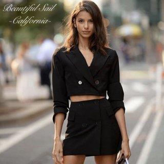 【大特価】ブラック 無地 シンプル ダブルブレスト ダブルボタン クロップドジャケット ミニスカート セットアップ スーツ 通販