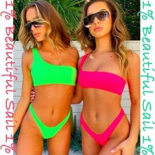 【大特価】2色展開 ネオンピンク ネオングリーン 無地 シンプル ワンショルダービキニ タンクトップビキニ インポート 水着 通販