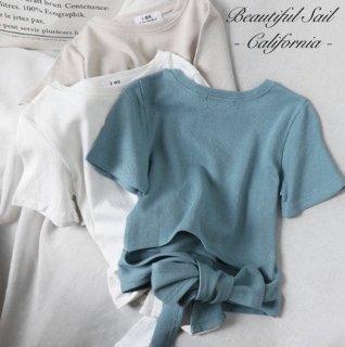 【大特価】5色展開 無地 シンプル バックリボン Tシャツ 半袖 トップス カットソー インポート 通販