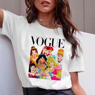 【大特価】ホワイト フロントプリント ディズニープリンセス パロディ 変顔 VOGUE Tシャツ 半袖 トップス カットソー