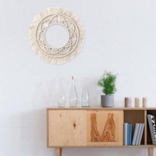 【大特価】2デザイン アイボリー マクラメ クロシェ編み ウォールオブジェ ハンドメイド タペストリー ウォールフレーム 壁掛け