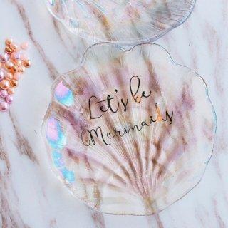 【大特価】2デザイン オーロラ mermaid シェル 貝殻 ディッシュ 小皿 小物入れ プレート 海外インテリア インポート 通販