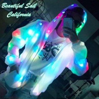 【大特価】ホワイト LED ユニセックス 男女兼用 ジッパー ジップアップ ファスナー パーカー フーディー ジャケット グロウ エレクトリック