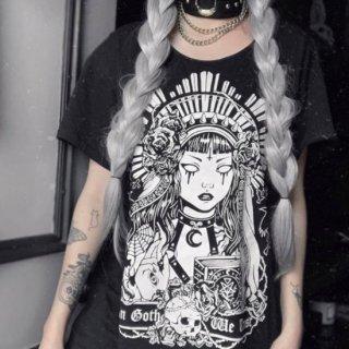 【大特価】ブラック 総柄 フロントプリント グラフィック ゴスプリント オーバーサイズ Tシャツ 半袖 トップス カットソー Tワンピ ミニワンピース