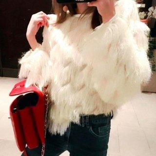 【大特価】ホワイト 無地 シンプル タッセル フリンジ 長袖 ニット セーター トップス カットソー 韓国 通販