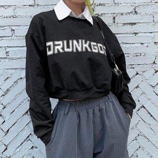 【大特価】ブラック フロントロゴ drunk god 襟付き レイヤード 重ね着風 スウェット トレーナー プルオーバー クロップドトップス カットソー 通販