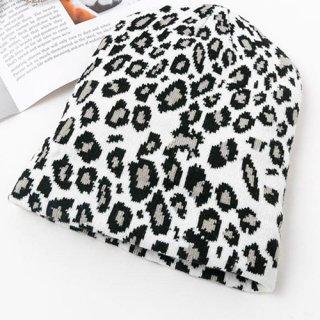 【大特価】ホワイト レオパード柄 ひょう柄 ビーニー ニット帽 通販