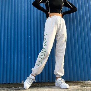 【大特価】ホワイトxグリーン I AM HOTTY トラックパンツ ジョガーパンツ ワークパンツ カーゴパンツ 通販