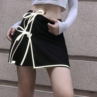 【大特価】ブラック 反射材 リフレクティブ パイピングトリム サイドリボン ラップスカート ミニスカート ボトム 通販