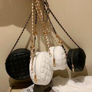 【大特価】2色展開 2サイズ ブラック ホワイト フェイクレザー 合皮 キルティング サークルバッグ ラウンドバッグ チェーンショルダーバッグ 韓国