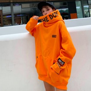 【大特価】2色展開 オレンジ ブラック ロゴ ハイネック スウェット トレーナー プルオーバー オーバーサイズ パーカー フーディー 韓国 ミニワンピース