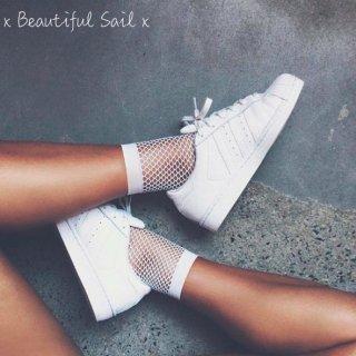 【大特価】ホワイト メッシュ シースルー ショートソックス 靴下 韓国 通販