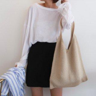 【大特価】5色展開 ニットショルダーバッグ ニットバッグ トートバッグ エコバッグ 無地 シンプル 韓国 通販