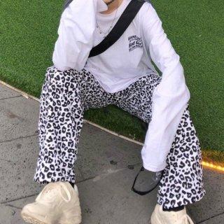 【大特価】ホワイト レオパード柄 ひょう柄 トラックパンツ ジョガーパンツ ワークパンツ カーゴパンツ ストレートパンツ 韓国 ボトム 通販