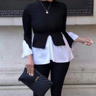 【大特価】ブラックxホワイト レイヤード 重ね着風 スリット モックネック 長袖 シャツ ブラウス トップス カットソー 通販
