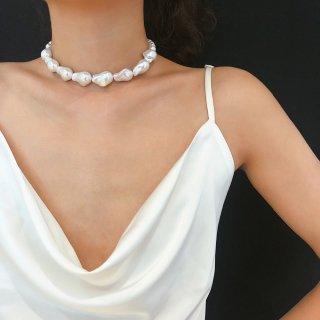 【大特価】ホワイト 変形デザイン フェイクパールビーズ チョーカーネックレス ショートネックレス インポート アクセサリー 通販