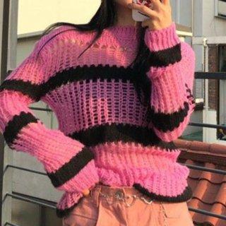 【大特価】2色展開 ストライプ ボーダー アイレット かぎ編み クロシェニット セーター トップス 韓国 通販