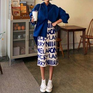 【大特価】2色展開 ロゴデザイン 英文字 レタープリント ニットスカート タイトスカート ペンシルスカート 韓国 ボトム 通販