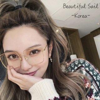 【大特価】4色展開 スクエアメガネ アイウェア だてめがね 伊達眼鏡 スクエアサングラス クリアレンズ 韓国 通販