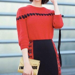 【大特価】レッドxブラック レースアップ 編み上げ リボン クルーネック 長袖 ニット セーター トップス 韓国 通販