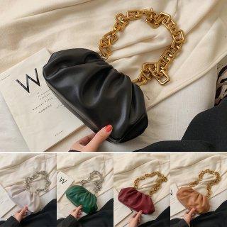 【大特価】5色展開 フェイクレザー 合皮 チェーンショルダーバッグ 巾着バッグ チャンキーチェーン 通販