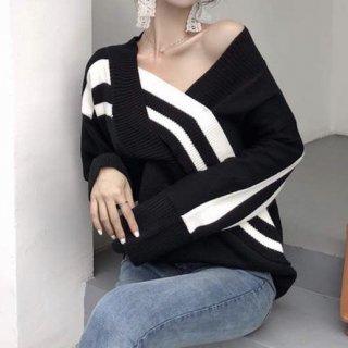 【大特価】ブラック ストライプラインデザイン ボーダー 長袖 Vネック ニット セーター プルオーバー トップス 韓国 通販
